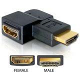 Delock HDMI Adapter HDMI-Stecker auf HDMI-Buchse Schwarz gewinkelt